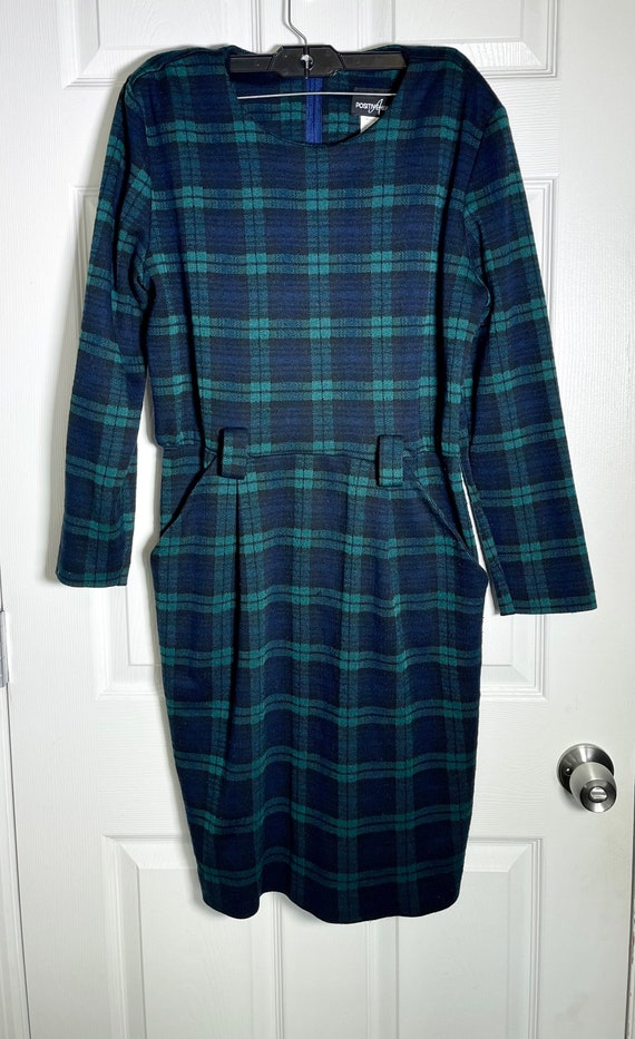 Vintage 1980's Blue and Green Plaid Wiggle Dress