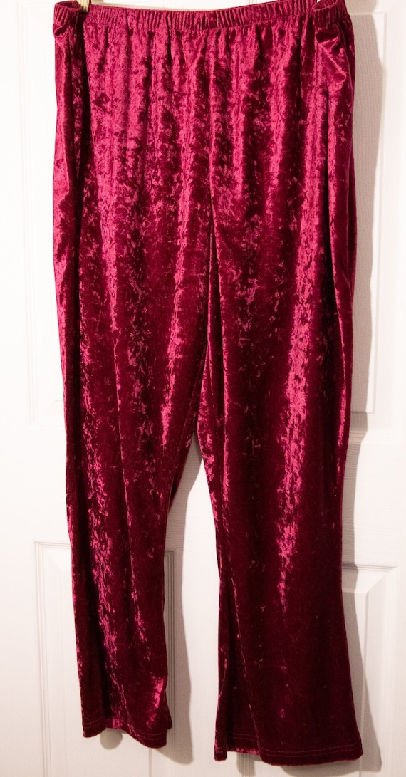 Vintage  1990's Red Velour Plus Size Pants