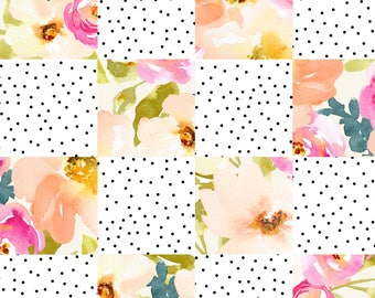 """Watercolor Floral Patchwork - Exclusive Digital Print, 100% Lightweight Cotton Poplin Fabric, 58"""" wide, cheater quilt fabric"""
