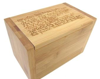 Handwritten Recipe Box - Bamboo Recipe Box - Wooden Recipe Box with Your Recipe Engraved