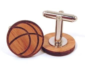 Basketball Wooden Cuff Links