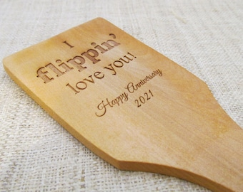 Anniversary Wooden Spatula - Engraved Custom Wooden Spoon - 5th Anniversary Gift