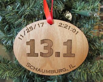 Marathon Ornament - Half Marathon Ornament - Wooden Race Ornament - 5K Race Ornament