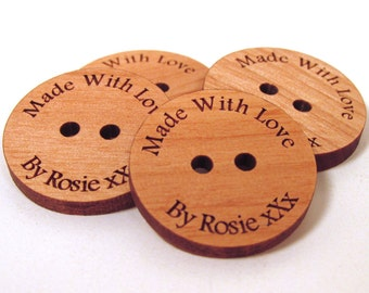 Custom Wooden Buttons - Made With Love - 10 Buttons - Choose Your Size