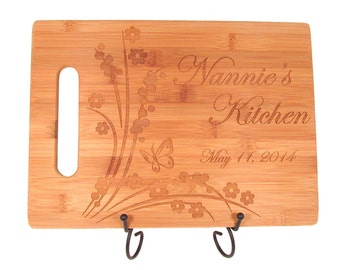 Custom Engraved Bamboo Cutting Board - Floral Butterfly Design