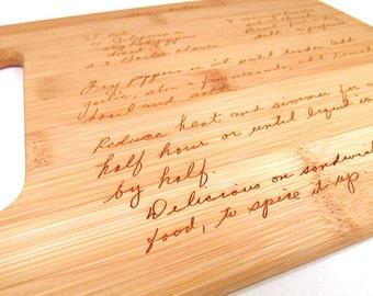 Handwritten Engraved Cutting Board - Personalized Bamboo Cutting Board - Your Recipe Engraved