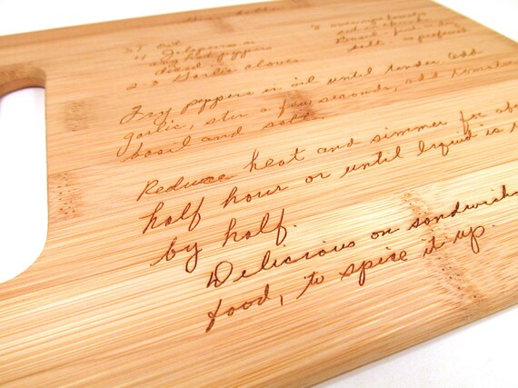 handwritten engraved cutting board personalized bamboo etsy