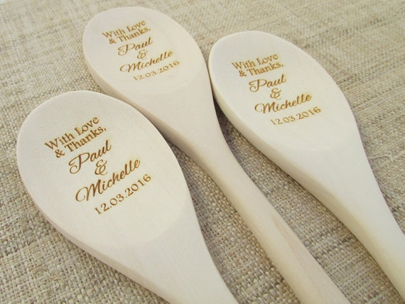 Personalized Wooden Spoon Wedding Favor Thank You Engraved