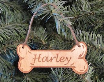Dog Bone Ornament - Personalized Wooden Ornament