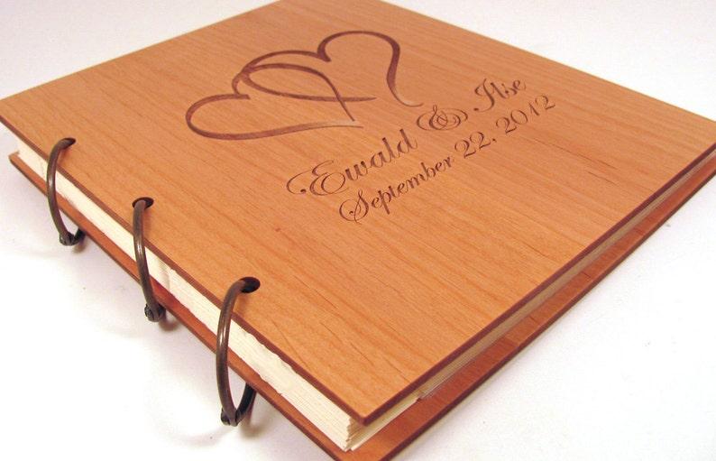 Wooden Wedding Guest Book Photo Album LARGE SIZE Double Heart Design