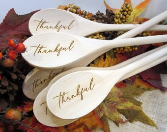 Thankful Wooden Spoon - Engraved Thanksgiving Wooden Spoon (1 spoon)