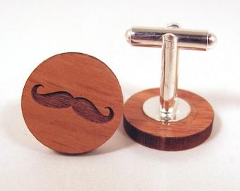 Mustache Wooden Cuff Links