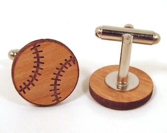 Baseball Wooden Cuff Links