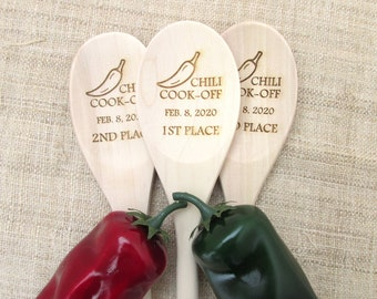 Chili Cookoff Spoon - Chili Cook-Off Wooden Spoon - Personalized Chili Winner Spoon - Cookoff Award - Chili Champion (1 spoon)