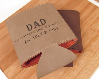 Father's Day Cozy - Leather Can Cooler for Dad - Personalized Can Cozy