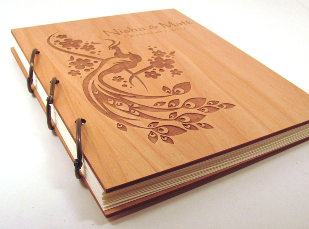 Wooden Wedding Guest Book Photo Album Large Size Peacock Etsy