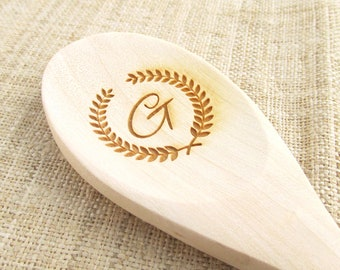 Olive Branch Wooden Spoon - Engraved Personalized Wooden Spoon (1 spoon)