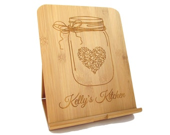 Personalized Tablet Stand - Custom Bamboo iPad Holder - Recipe Stand for iPad, Kindle, Nook