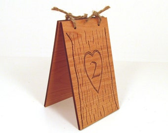 Engraved Wood Table Numbers - Carved Tree Design