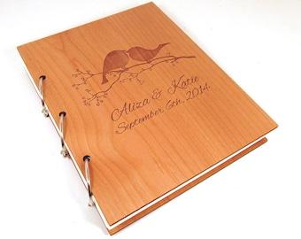Love Birds Wooden Wedding Guest Book Photo Album - LARGE SIZE