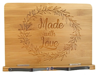 Made with Love Cookbook Stand - Engraved Bamboo Recipe Stand - Wooden Recipe Book Holder