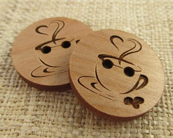 Coffee Wooden Buttons - Engraved Laser Cut Coffee Cozy Buttons