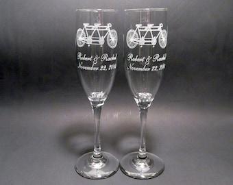 Tandem Bicycle Champagne Flutes - Set of 2 Wedding Toasting Flutes