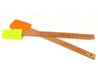 Personalized Engraved Spatula - Bamboo and Silicone Scraper - Lime Green OR Orange (1 spatula)