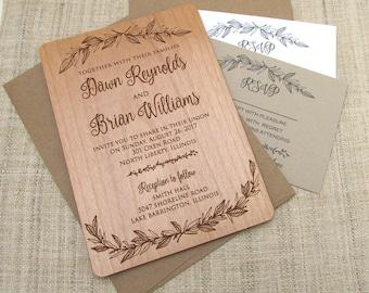 Engraved Wooden Wedding Invitation Real Wood Invitation