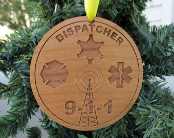 Dispatcher Wooden Christmas Ornament - Dispatch Christmas Gift - Personalized Wood Ornament