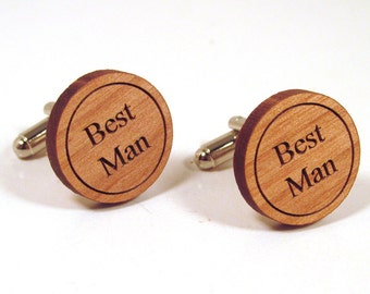 Best Man Wooden Cuff Links - Wedding Accessory for the Best Man