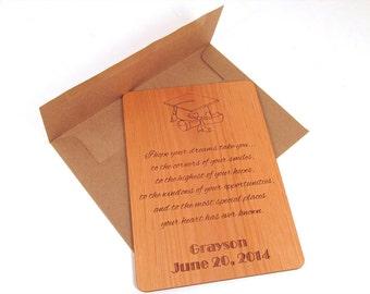 Wooden Graduation Card - Graduation Gift Keepsake Personalized