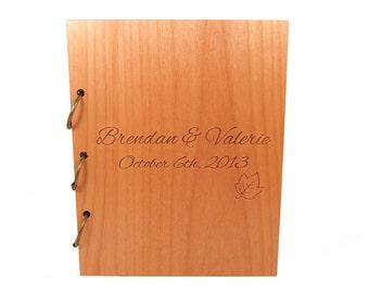 Wooden Wedding Guest Book Photo Album LARGE SIZE - Simple Leaf Design