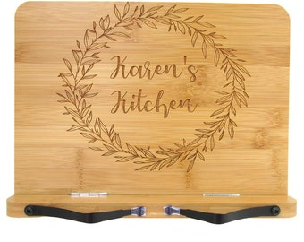 Personalized Cookbook Stand - Engraved Bamboo Recipe Stand - Wooden Recipe Book Holder