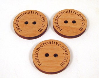75 Custom Wooden Buttons - Your Shop Name or Logo