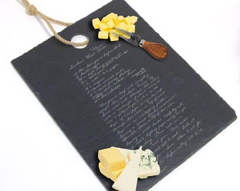 Slate Cheese Board with Handwritten Recipe - Slate Cutting Board with Handwriting - Charcuterie Board with your recipe