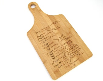 Handwritten Cutting Board Engraved with Your Handwriting - Paddle Style Board - Personalized Bamboo Cutting Board - Your Recipe Engraved