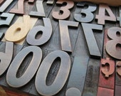 SALE - SPRING SALE - LETTERPRESS SHOWY COMPLETE DOUBLE NUMBER SET WITH PUNCTUATION - 1-7\/8 INCHES TALL- LOT 69