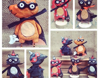 Raccoon masked marauder Halloween folk art Sculpture Ready to Ship