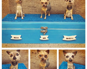 Personalized Pet Urn clay folk art sculpture or memorial based on your pets photo Large long