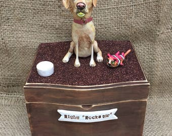 Large slanted top Personalized Pet Urn clay folk art sculpture or memorial based on your pets photo
