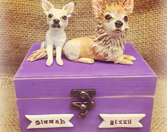 Medium (up to 60 lbs) Personalized Pet Urn clay folk art sculpture or memorial based on your pets photo with TWO dogs