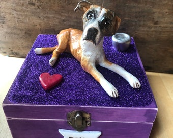 Medium (up to 60 lbs) personalized pet urn clay folk art sculpture or memorial based on your pets photo