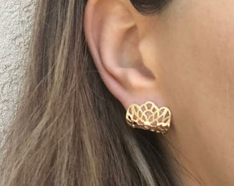 Folded Studs, Gold Lace Filigree Folded Post Earrings, Minimalist Stud Earrings, Gold Stud Earrings