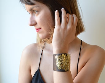 Black Leather Wrap Wide Bracelet, Brass and Leather Contemporary Cuff Bracelet, expandable fits any size.