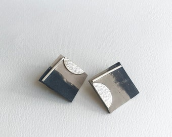Square Two Tones Warm Gray Stud Earrings, Hammered Sterling Silver and Clay