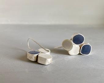 Sterling Silver Dangle Earrings, Blue Edgy Modern Minimalist Earrings,