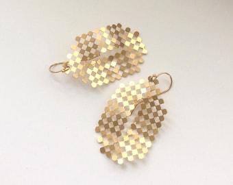 Vintage Mesh Jewelery, Gold Dangle Vintage Geometric Earrings