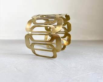 Golden Brass Bracelet, Geometric Contemporary Design, Golden Malleable Cuff, Fits any Size.