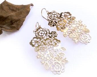 Dangle Gold Filigree Lace Earrings, Boho Chic Long Statement Earrings